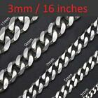 "*UK Shop* STAINLESS STEEL SILVER 3,5,7,9MM & 18-26"" MENS CURB CHAIN NECKLACE MAN"