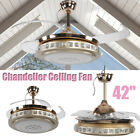"""42"""" Retractable 65W LED Ceiling Fan Dimmable Lights 4 Blades Remote Control"""