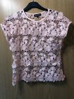 Select Small Pink / Peach Crochet Flower Top Tshirt