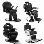 Black Salon Barber Chair Adjustable Hydraulic Recline Heavy Duty Deluxe Classic