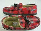 Woolrich Mens Lewisburg 1183 Fleece Lined slippers Chocolate Red Plaid Free Ship