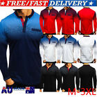 AU Men's Polo Shirts Tee Top Long Sleeve Muscle Autumn Casual Sport Golf T Shirt