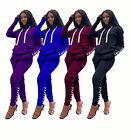 Women Long Sleeves Hooded Casual Eyelets Bandage Pockets Sports Outfits 2pc
