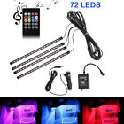 4x 18LED RGB Car Interior Floor Lamp Atmosphere Light Strip Sound Remote Cont-g