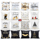 Christmas Cushion Cover Bronzing Cotton White Gold Pillow Case Xmas Home Decor