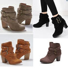Fashion Womens Ankle Boots Block Mid Heel Booties Casual Buckle Shoes Size 6-10