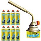 Flamethrower Burner Blow Torch Hand Ignition Camping Welding Tool + Gas Refills