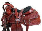 WESTERN SADDLE TRAIL HORSE PLEASURE FLORAL TOOLED USED LEATHER ROPING TACK 16 17