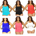 Womens Vocation Plus Size Swimwear Two Pieces Tassels High Waist S-3X Beach Set