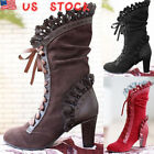 Gothic Women High Heel Steampunk Victorian Lace Up Thigh High Pirate Boots Size