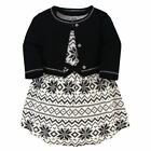 Touched By Nature Girl Toddler Organic Cotton Dress and Cardigan, Black Fair Isl
