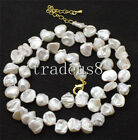 freshwater pearl white reboen ksehi baroque 6-12mm necklace 17inch
