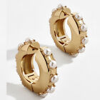 Claire Huggie Hoop Earrings Beaded Pave Boutique Jewelry For Casual Daywear  image