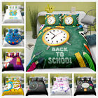 3D Cartoon Kids Bedding Set Time Clock Duvet Cover Pillowcase Zip Quilt Cover