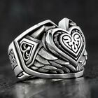 Vintage Mens Silver Stainless Steel Gothic Masonic Biker Rings Jewelry Lots 6-13
