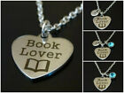 Book Lover Necklace Initial Birthstone Teacher Student Librarian Charm Jewelry
