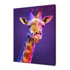 COLOURFUL PURPLE GIRAFFE ANIMAL PAINTING STYLE CANVAS PRINT WALL ART PICTURE
