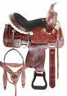 """Kids Saddle Used Beautiful Brown Trail Western Leather Horse Tack Set 12"""" 13"""""""