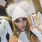 Winter Women's Knitted Warm Chunky Knit With Double Fur Pom Pom Cute Beanie Hats