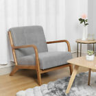 Vintage Upholstered Fabric Armchair with Button Lounge Chair Solid Wooden Frame