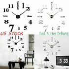 Modern Large DIY Wall Clock 3D Mirror Surface Sticker Home Office Decor Room Art