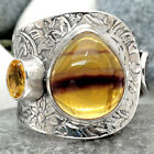 Natural Multi Fluorite and Citrine 925 Sterling Silver Ring Jewelry s.9 SDR66209