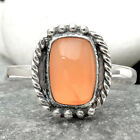 Natural Peach Moonstone 925 Sterling Silver Handmade Ring Jewelry s.9 SDR66661