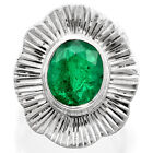 Zambian Emerald 925 Sterling Silver Handmade Ring Jewelry s.6.5 SDR37926