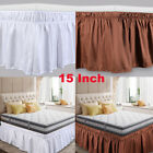 Twin Full Queen King Ship Wrap Around Bed Skirt Elastic Dust Ruffle 15'' Drop US image