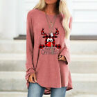 Womens Ladies Tee Loose Christmas Blouse Reindeer Shirt Xmas Casual Jumper Tops