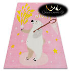 MODERN pink thick & soft RUG for children 'PLAY' colorful Bear Stars Good night