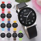 High Class Men Women's Casual Leather Band Colored Straps Analog Wrist Watches