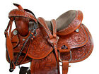 BARREL SADDLE WESTERN HORSE FLORAL TOOLED CUTE SILVER STUDDED LEATHER TACK 15 16