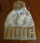 Michael Kors Scarf Hat Gloves Pom Cream Gray Black Navy Gold MK Logo