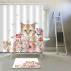 Cute Cat In Flowers Shower Curtain Bath Accessory Sets Polyester Fabric & Hooks