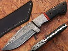 AishaTech Hunting Knife Fixed Blade Damascus Water Buffalo Horn Handle AT-2066