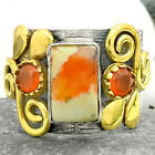 Two Tone - Mexican Fire Opal and Carnelian 925 Silver Ring s.6.5 SDR68484
