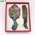 Vintage Mirror and Comb Set Peacock Painted Women Make Up Girls Birthday Gift