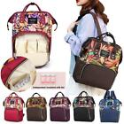 Large Mummy Bag Maternity Travel Backpack Plant Print Baby Diaper Shoulder Bag