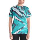 "Women's T-Shirt ""Pattern"" Turquoise Blue Camouflage Trendy Stylish Urban Art"
