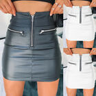 Women's Lady High Waist Bodycon PU Leather Stretch Business OL Pencil Mini Skirt