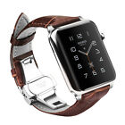Butterfly Buckle Leather Strap Band for Apple Watch Series 5 4 3 2 38/40/42/44mm $7.99 USD on eBay