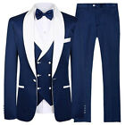 One Button Groomsmen Shawl Lapel Groom Tuxedos Men Suits Wedding Prom Best Man