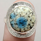K2 Blue - Azurite In Quartz 925 Sterling Silver Ring Jewelry s.8 SDR62972