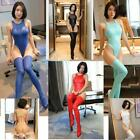 Faux Leather Bodysuit Monokini Stockings Set Leotard Swimsuit Lingerie Cosplay