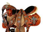 USED TRAIL SADDLE WESTERN HORSE PLEASURE CROSS SHOW FLORAL TOOLED LEATHER TACK