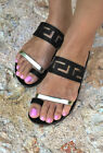 Womens Flat Sliders Slip On Summer Holiday Open Toe Sandals Shoes Size 2.5-7.5
