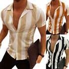 US Mens Stylish Striped T-Shirt Business Short Sleeve Shirts Slim Fit Loose Tops