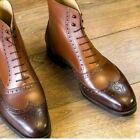 Handmade Men's Genuine Brown Leather Ankle Oxford Brogue Chelsea Formal Boots