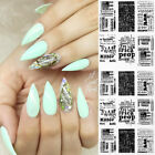 3D Nail Stickers Black White Newspaper Self-Adhesive Nail Art Transfer Decals